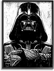 The Stupell Home Décor Collection Black and White Star Wars Darth Vader Distressed Wood Etching Framed Giclee Texturized Art, 16 x 20, Multi-Color