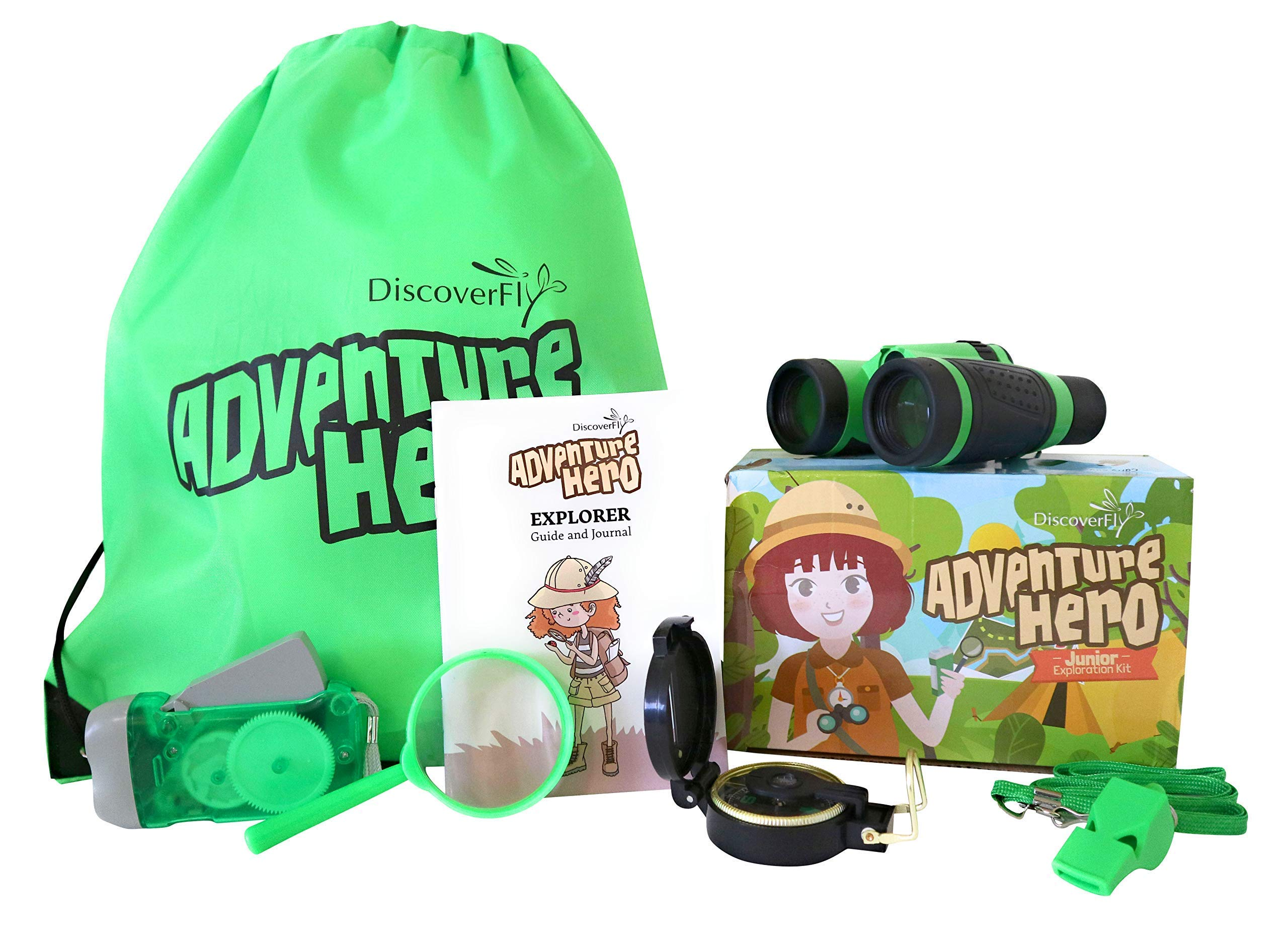 Discoverfly Outdoor Explorer Kit for Kids - Toy Binoculars, Magnifying Glass, Flashlight, Compass, Whistle, Backyard Bugs Book - Perfect Set for Boys and Girls Nature Exploration