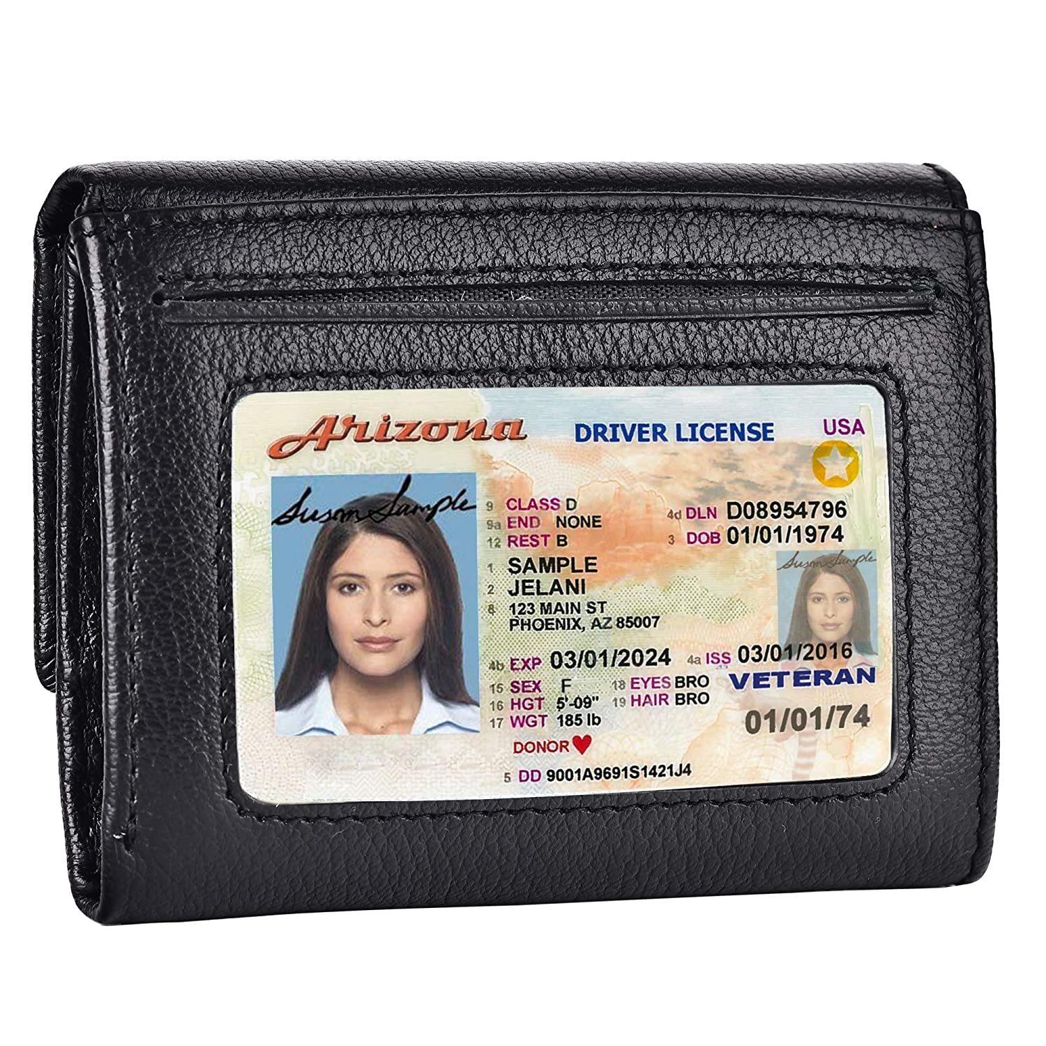Credit Card Holder Ladies Wallet RFID Blocking Genuine Leather Trifold for Women