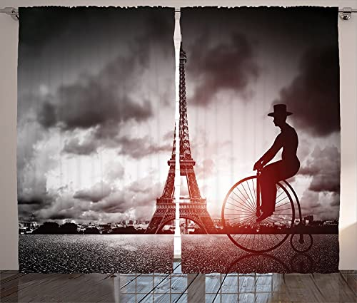 sophiehome Eiffel Tower Decor Curtains Man On Retro Bicycle Next to Eiffel Tower Paris France Dramatic Sky Sun Beams Living Room Bedroom Decor 2 Panel Set