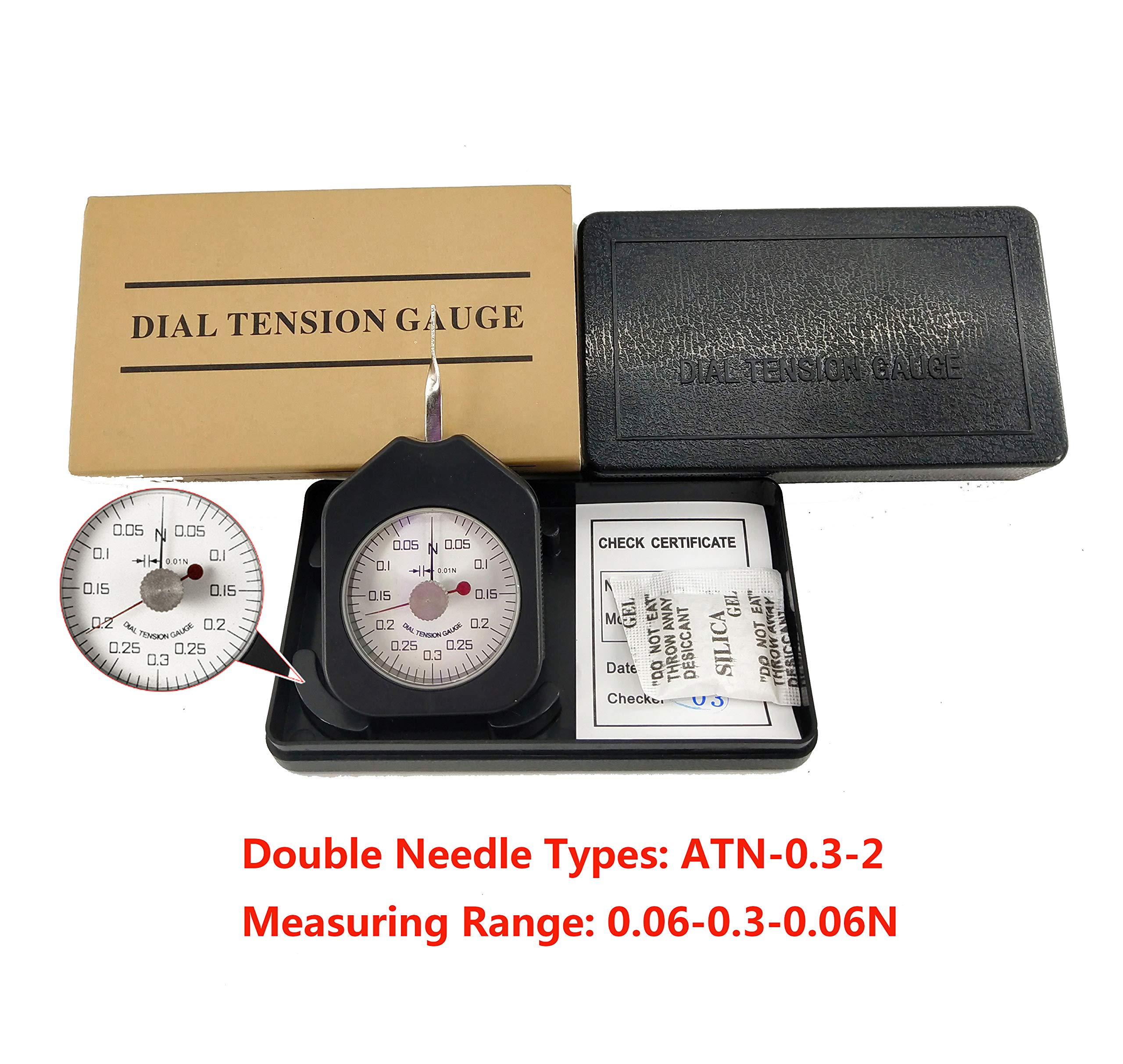 HFBTE ATN-0.3-2 Mini Size Tensionmeter Tension Gauge with 0.01N Division Value Double Pointer Type by HFBTE