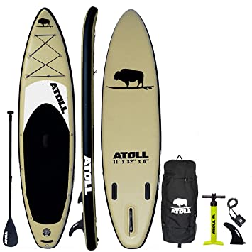 Atoll 11 Foot Inflatable Stand Up Paddle Board (6 Inches Thick, 32 inches Wide) ISUP, Bravo Hand Pump and 3 Piece Paddle, Travel Backpack and ...