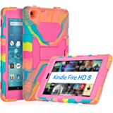 All-New Amazon Fire HD 8 Tablet Case, ACEGUARDER Shockproof Kidfrienly Full Body Rugged Hybrid Cover with Built-in Screen Protector and Multi-Functional Kickstand -Ice/Rose