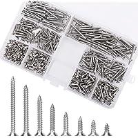 400 stuks M3 platte kop zelftikkende schroeven Kit, 304 roestvrij stalen borgmoer houtdraad nagels kruiskopschroefsets…