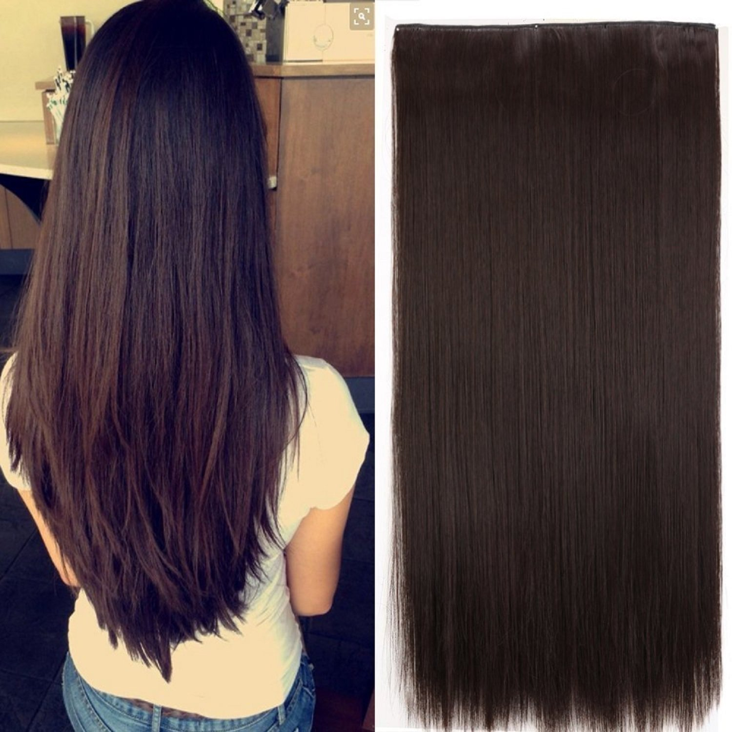 Ekan 5 Clips Hair Extension For Women And Girls Wedding Wear Straight Hair Extensions 26 Inches Dark Brown Pack Of 1 Amazon In Beauty
