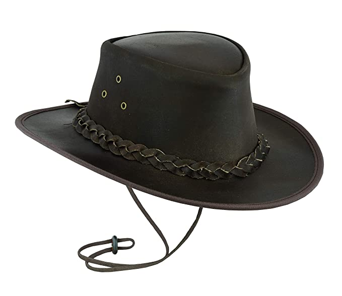 6c390445216 Leatherick Classic Western Style Cowboy Leather hat Dark Brown (XS)