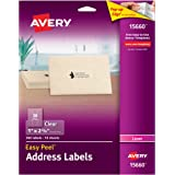 """Avery Clear Easy Peel Address Labels for Laser Printers 1"""" x 2-5/8"""", Pack of 300 (15660)"""