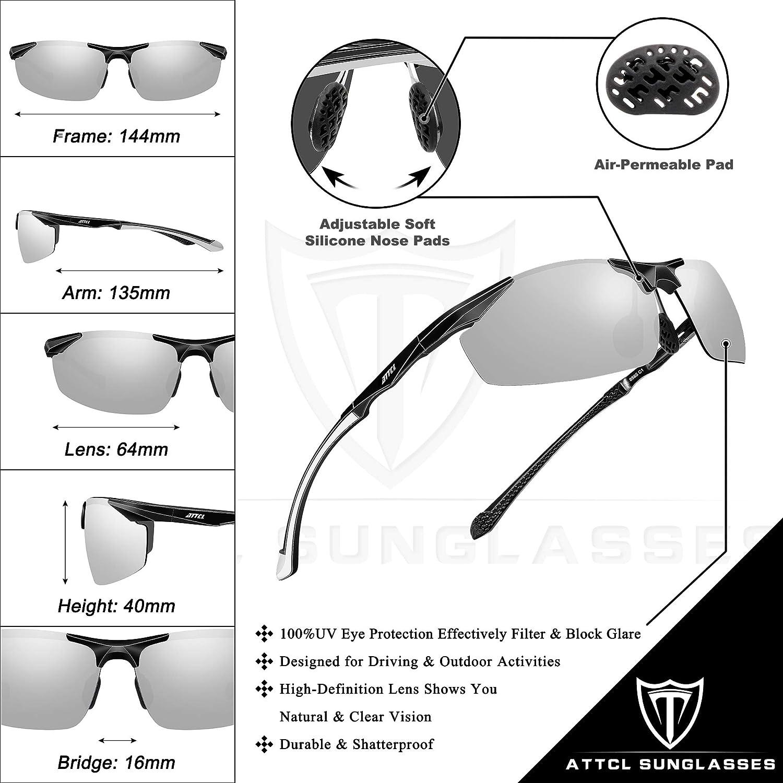 ATTCL Polarized UV Protection Sports Fishing Driving Sunglasses for Men Al-Mg Metal Frame Ultra Light
