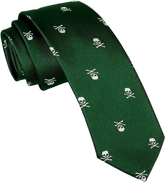 Alizeal Calavera–Corbata Estrecha para Hombre Verde Oscuro: Amazon.es: Ropa y accesorios