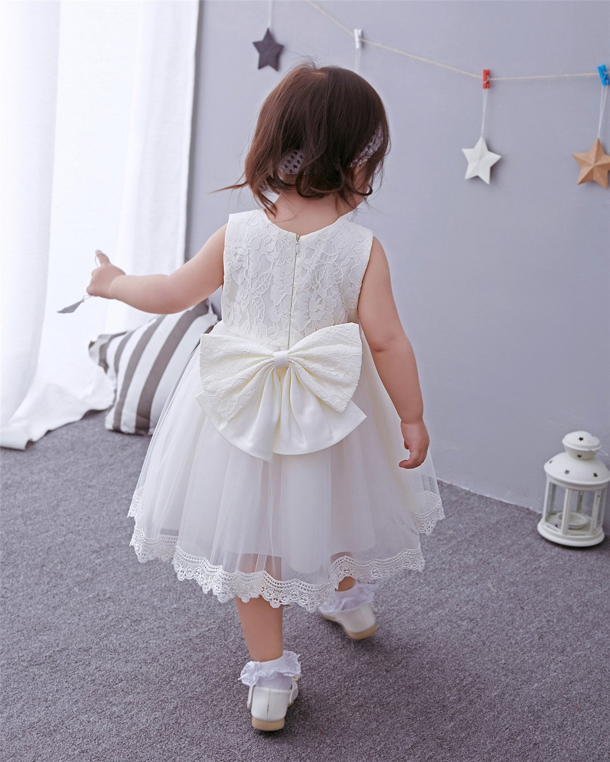 DoMii Baby Girl White Christening Baptism Gown Formal Dress with Headband