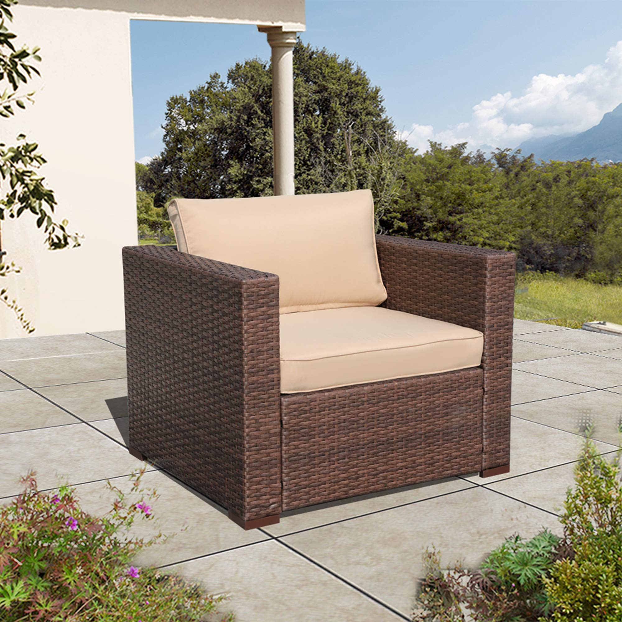 Super Patio Wicker Single Chair, Outdoor Furniture All Weather Wicker Armchair Sofa Thick Beige Cushions, Steel Frame, Brown by Super Patio