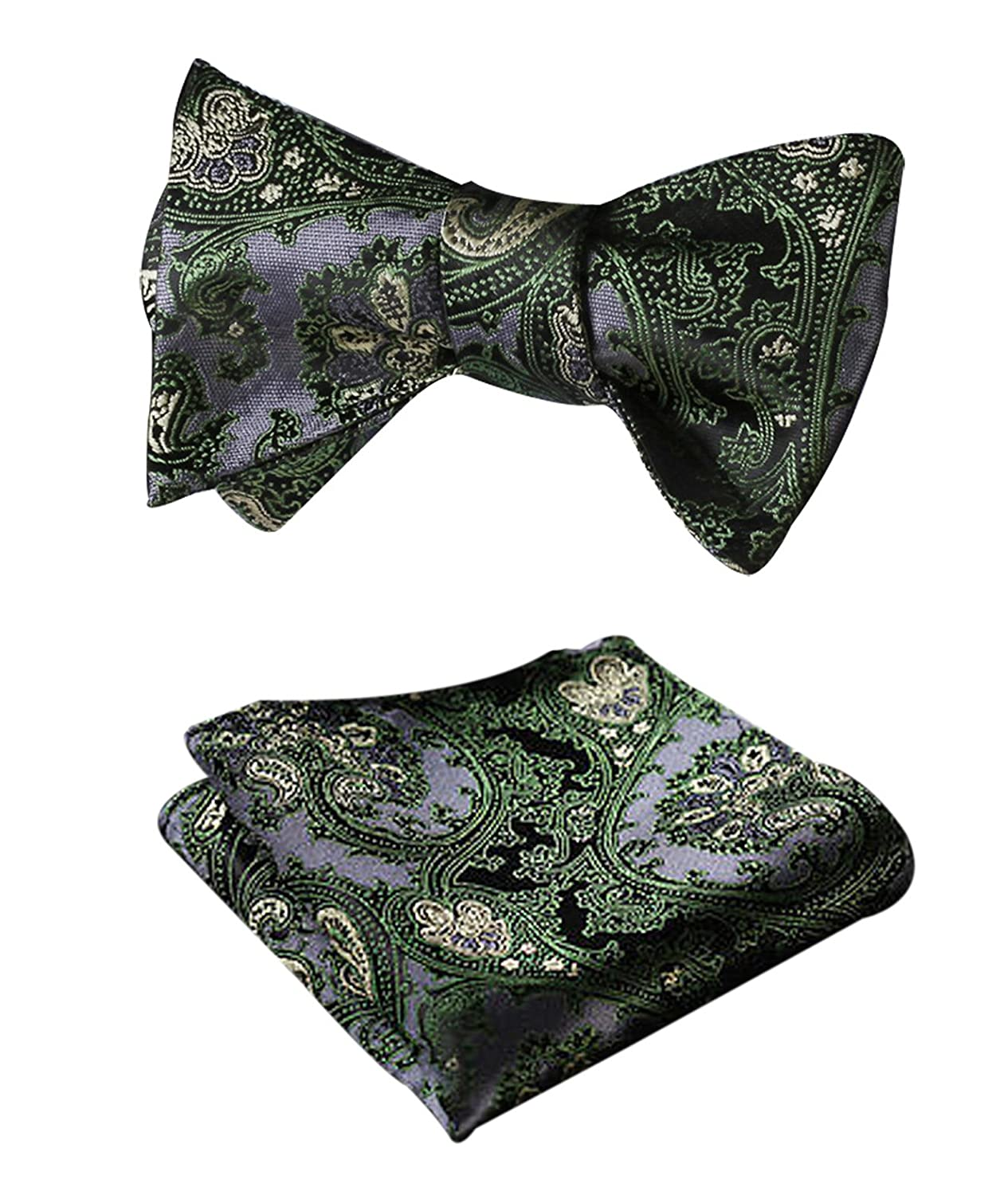 HISDERN Men's Floral Paisley Jacquard Wedding Party Self Bow Tie Pocket Square Set BF3022GS-2