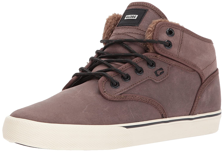 Globe Men's Motley Mid Skateboarding Shoe 14 D(M) US|Dark Brown/Off White/Fur
