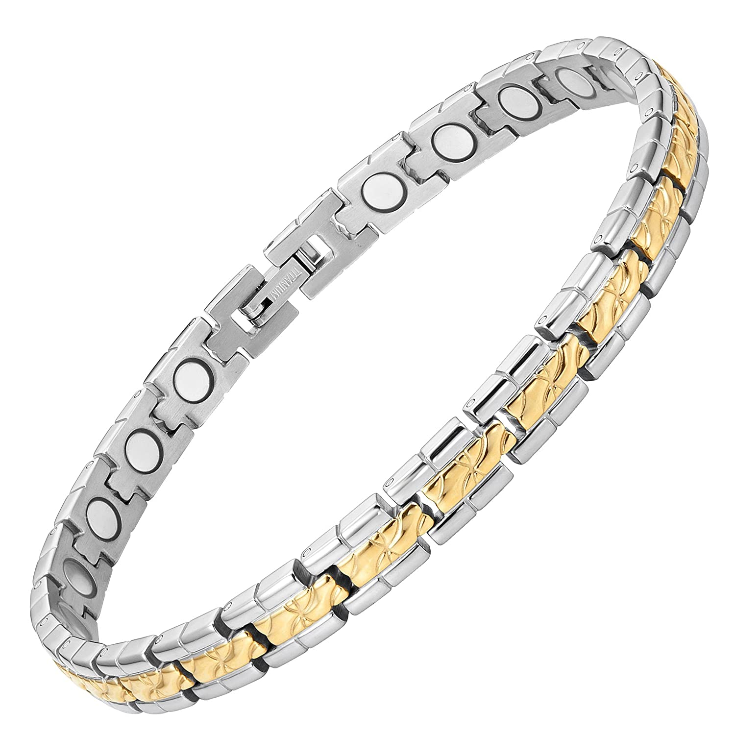 Amazon Womens Titanium Magic Therapy Bracelet For Arthritis Pain Relief Size Adjusting Tool And Gift Box Included By Willis Judd Clothing: Thin Wedding Bands For Women Arthritis At Websimilar.org