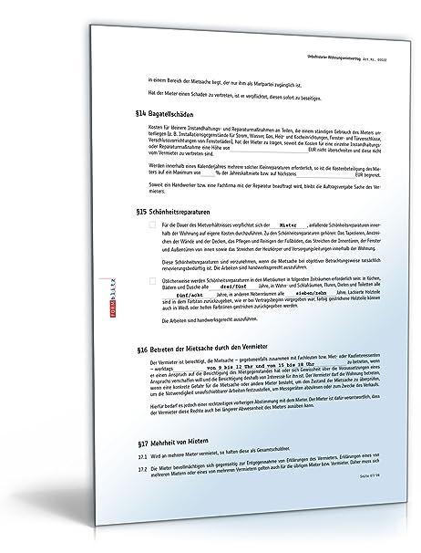 Mietvertrag Muster Zum Download Pdf Download Amazonde Software