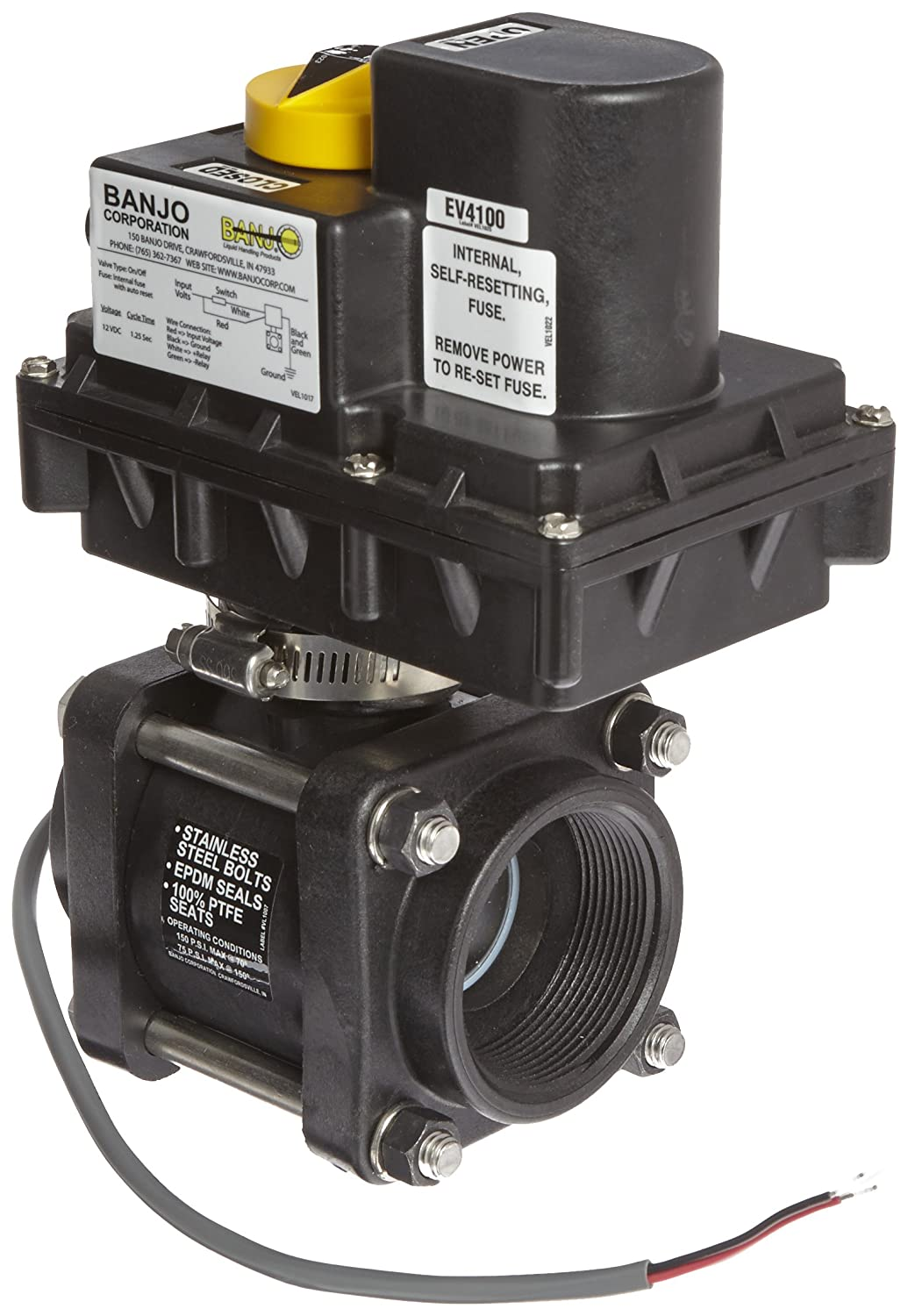 "Banjo EV200 Polypropylene Electronic Actuated Ball Valve, 12VDC, Standard Port, 2"" NPT Female"