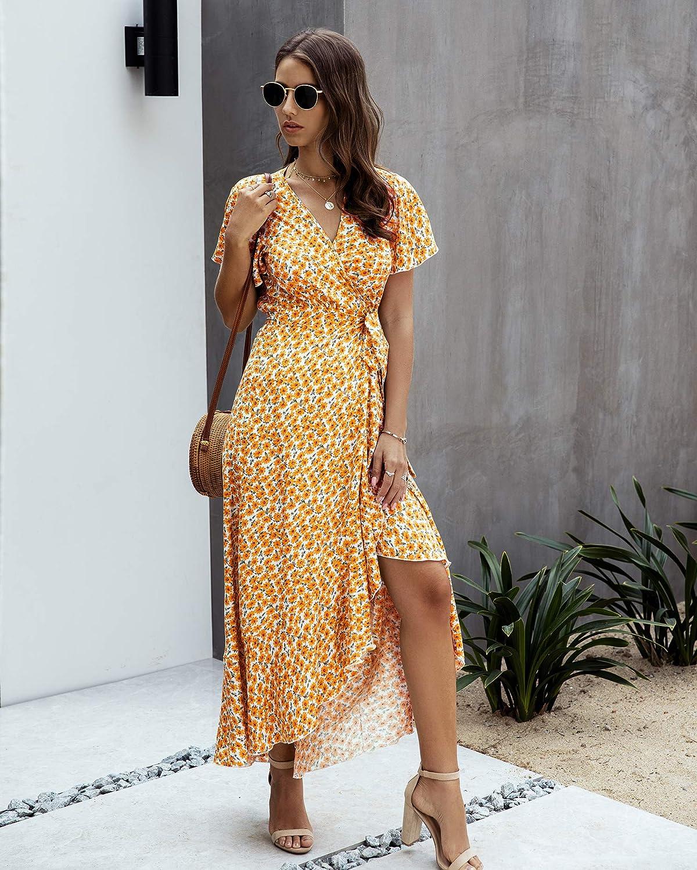 Spec4Y Kleid Damen Boho Sommerkleid V-Ausschnitt Kurzarm R/üschen Rock Punkt Lang Maxikleid Partykleid Blumenmuster Strandkleid