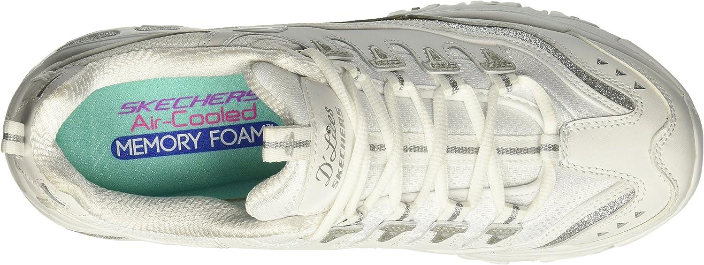Skechers D\'Lites Biggest Fan, Sneaker Donna Bianco White Silver