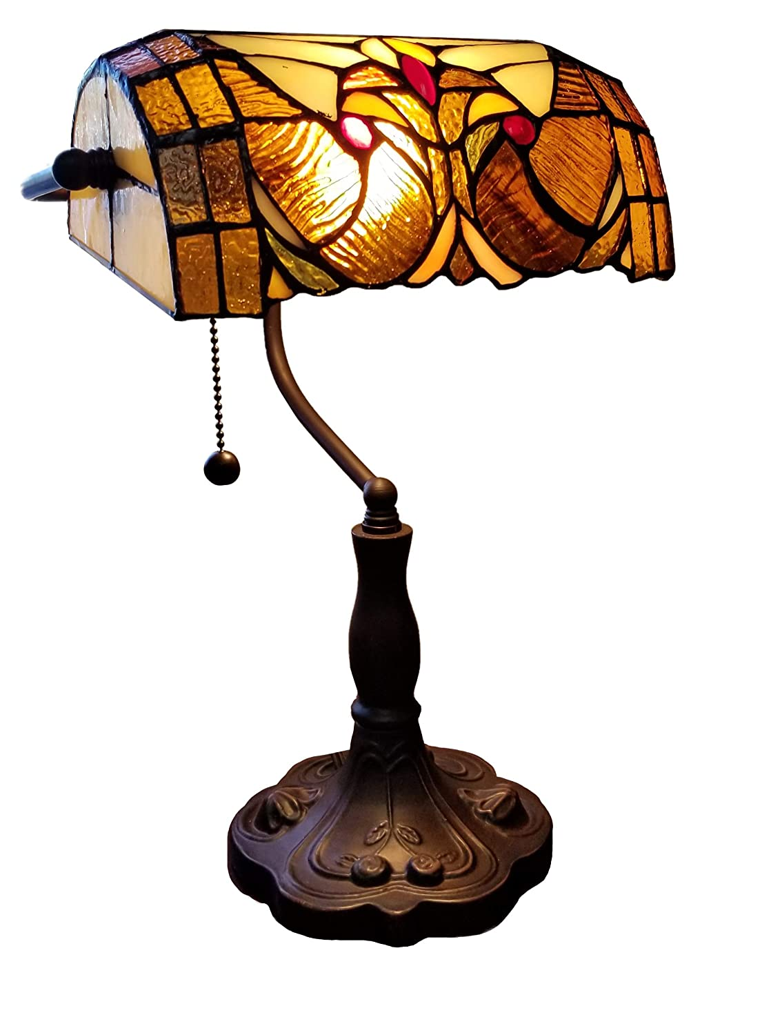 "Amora Lighting Tiffany Style Table Lamp Banker Floral 13"" Tall Stained Glass Tan Brown Red Vintage Antique Light Décor Night Stand Living Room Bedroom Handmade Gift AM339TL10, Multicolor"