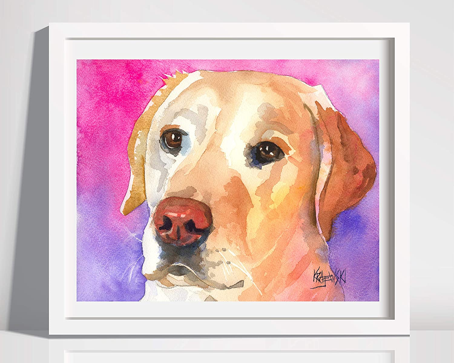 Labrador Retriever Art Print Signed Artist Ron Krajewski Painting 8x10 Yellow