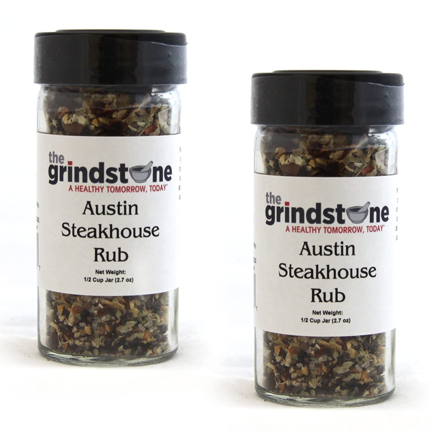 The Grindstone   Austin Steakhouse Rub   Non GMO   Hand Blended Spices   1/2 Cup Size   2.60 oz. Glass Bottle with Sifter   Pack of 2