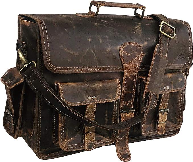 """New 18/"""" Men/'s Briefcase Brown Vintage Leather Laptop Messenger Satchel Sling Bag"""