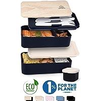 Umami® ⭐ Bento Lunch Box Premium | Pot À Sauce & 3 Couverts Inclus | Boîte Repas Japonaise Hermétique 2 Étages | Micro-Ondes & Lave-Vaisselle | Idéale pour Travail/École | sans BPA | (Noir Bambou)