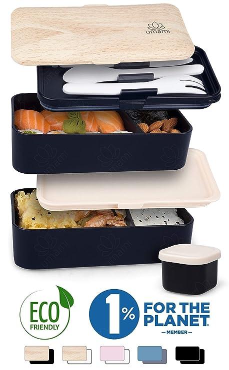 Umami ⭐ Lunch Box Negra Bambú | Bento Box con 2 Compartimientos Herméticos Y 3 Cubiertos Sólidos | Apto para Microondas Y Lavavajillas | Duradero, ...