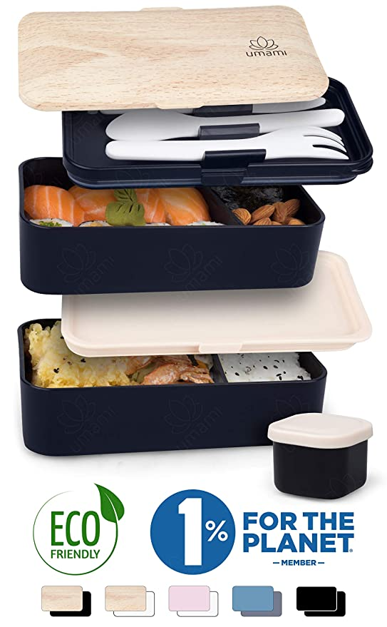 Umami ⭐ Lunch Box Negra Bambú | Bento Box con 2 Compartimientos ...