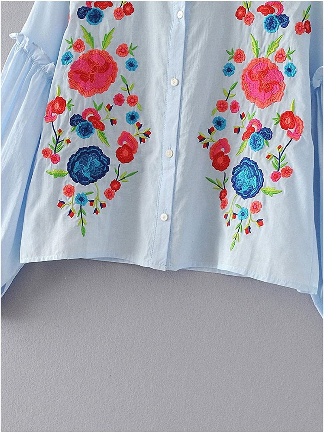 NEW Spring Autumn Women Shirts Blouses Plus Size Long Sleeve Floral Embroidery Korean Office Style Blouse Blusas Mujer at Amazon Womens Clothing store:
