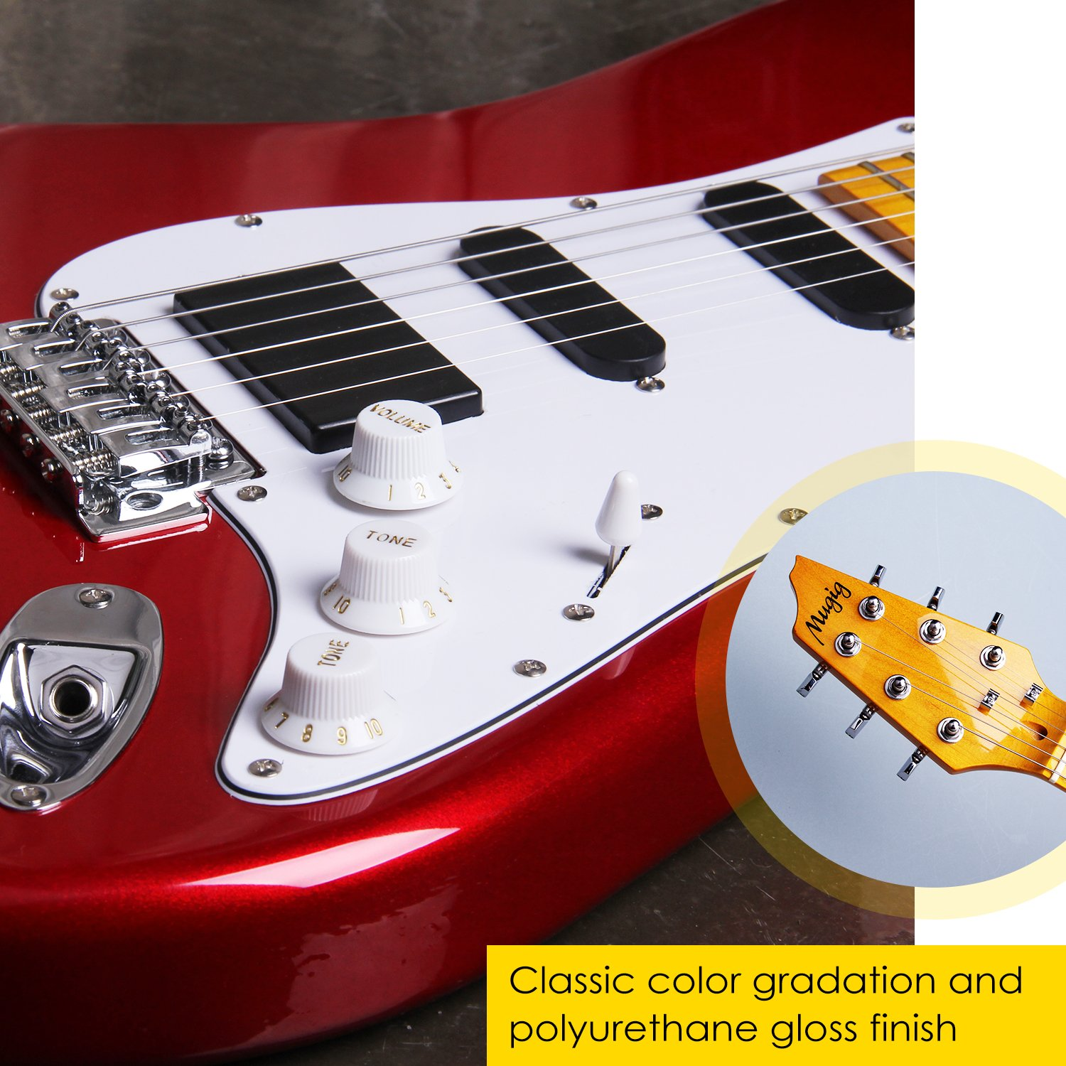 Mugig Electric Guitar Full Size 39 Inches Glossy Poplar Body Glossy Maple Fingerboard Single Single Double Pick Up Design