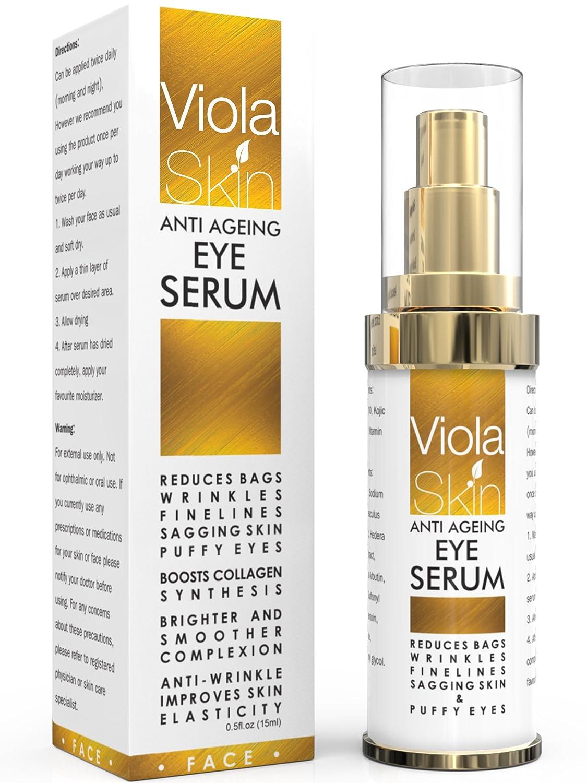 Anti-Aging-Augenserum für dunkle Ringe und Schwellungen, klinisch wirksam, Q10, Matrixyl 3000, für alle Hauttypen geeignet - - ViolaSkin