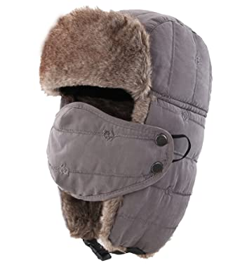 b69d3d1d42a Decentron Warm Trapper Hat Windproof Winter Russian Aviator Hats with Mask Ushanka  Hat (Grey)