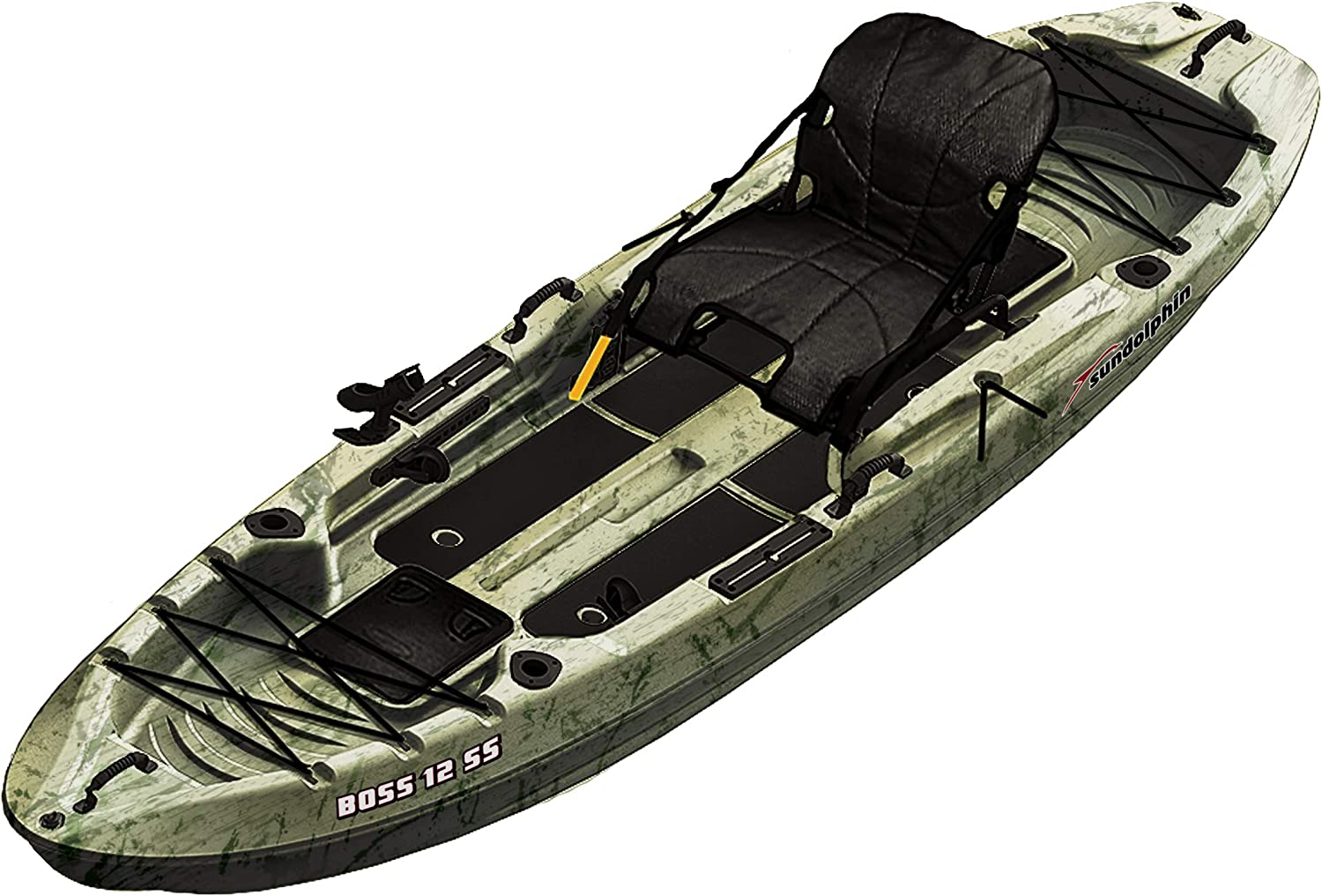 Amazon Com Sundolphin Sun Dolphin Boss Ss Sit On Stand On Top Angler Kayak Grass Camo 12 3 Feet Sports Outdoors