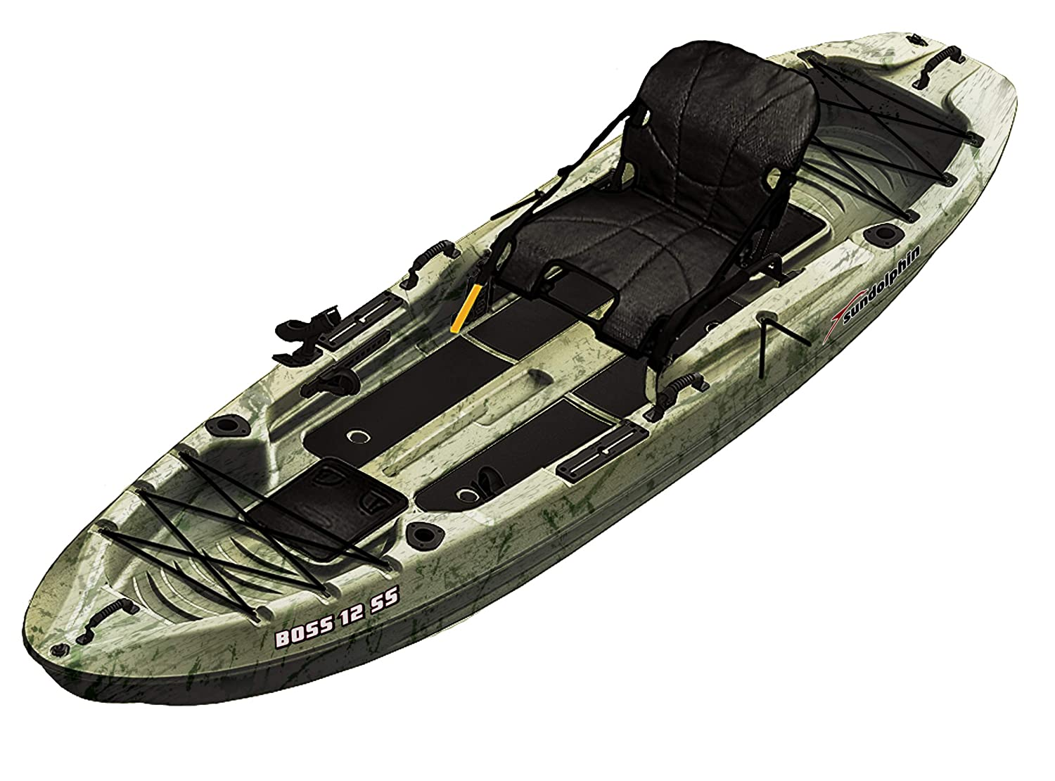 SUNDOLPHIN Sun Dolphin Boss SS Sit-On Stand On Top Angler Kayak Grass Camo, 12.3-Feet
