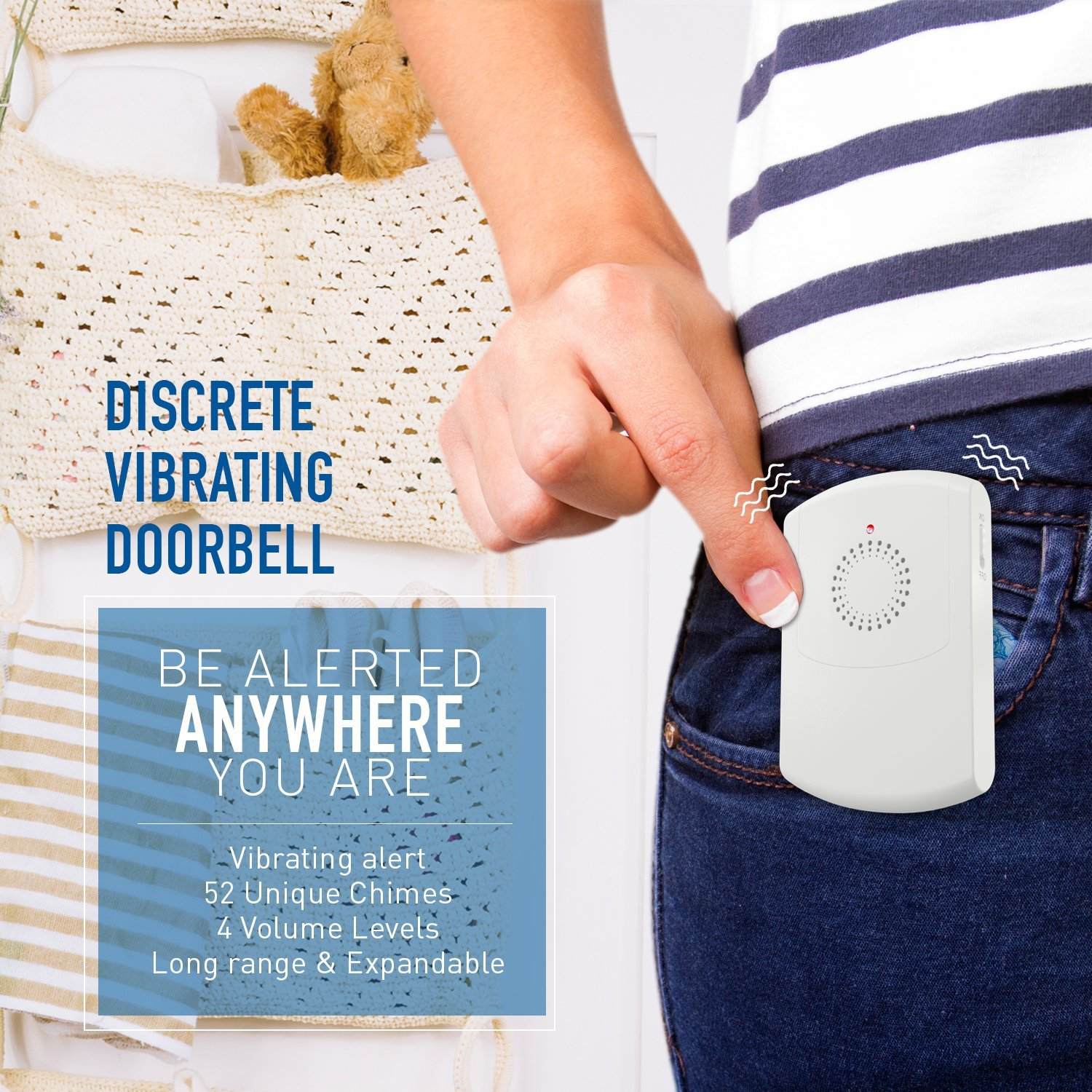 Sadotech Portable Vibrating Flashing Doorbell Receiver Vibrates Electrical Wiring In The Home Deaf Wireless Doorbells With Belt Clip Transmitter Button And Plugin Flashes For Hearing Impaired