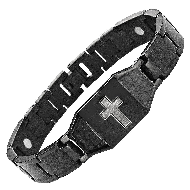 9e11e1b2e5421 Willis Judd New Mens Black Titanium Magnetic Christian Cross Bracelet with  Black Carbon Fiber Insets in Black Velvet Gift Box + Free Link Removal Tool