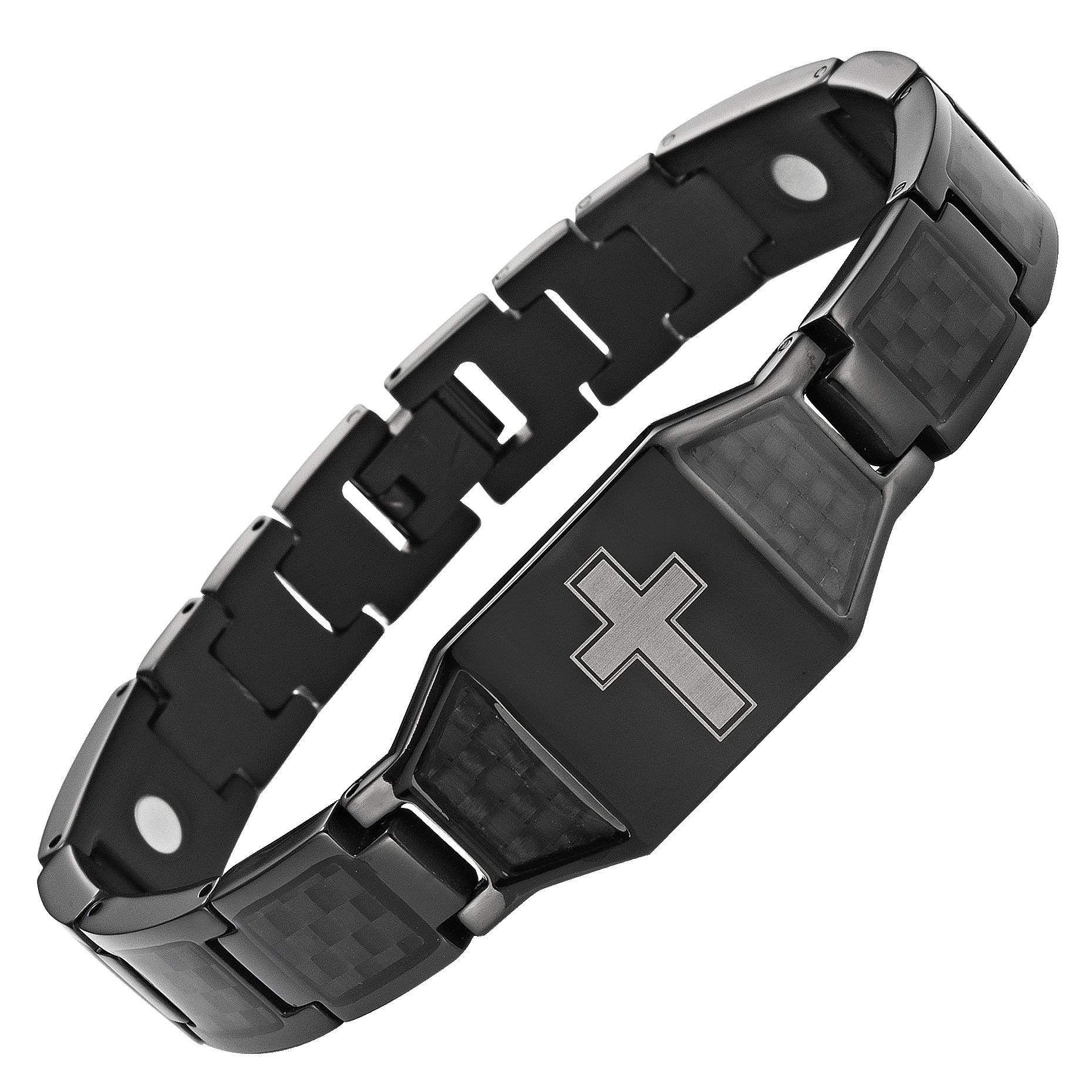 Willis Judd New Mens Black Titanium Magnetic Christian Cross Bracelet with Black Carbon Fiber Insets in Black Velvet Gift Box + Free Link Removal Tool