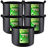 VIVOSUN 5-Pack 25 Gallon Plant Grow Bags, Premium Series 300G Thichkened Non-Woven Aeration Fabric Pots w/Handles…