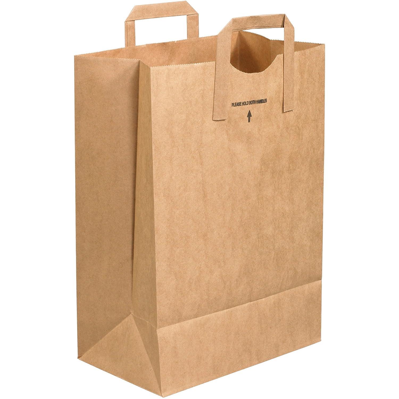 300//Case Flat Handle Grocery Bags Kraft 12 x 7 x 17