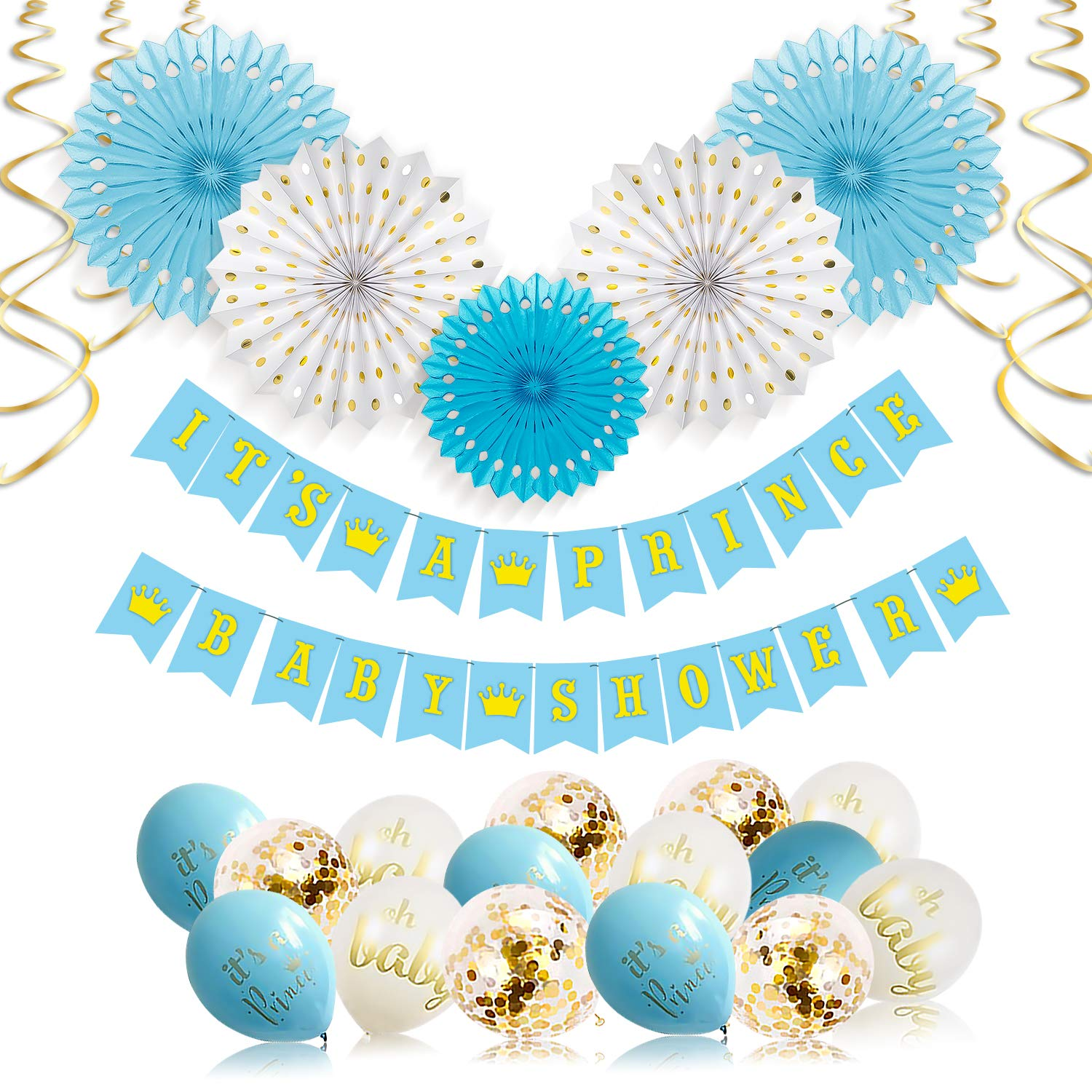 Its A Prince Baby Shower Decorations for Boy - 55 Piece Boys Baby Shower  Decoration Blue/White/Gold/Rose Gold - Boy Baby Shower Banner, Balloons, ...