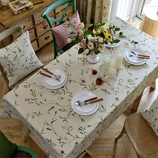 100 * 160 cm Beige Floral Mantel algodón lino estilo francés mesa ...