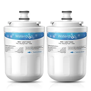 Waterdrop Refrigerator Water Filter, Compatible with Maytag UKF7003, UKF7002AXX, UKF7002, UKF7003AXX, 7003AXXP, UKF7001AXX, UKF6001AXX, UKF5001AXX, Whirlpool EDR7D1, Pack of 2