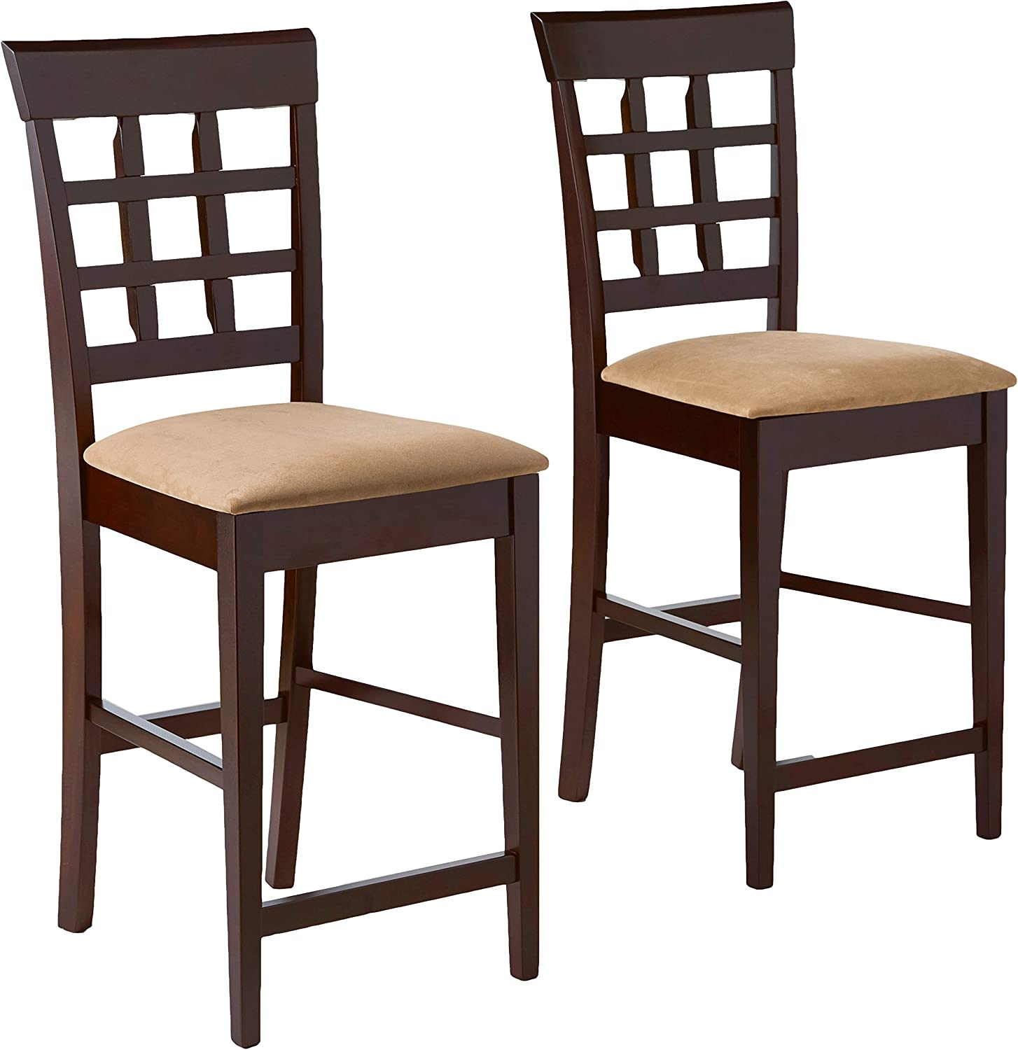 """Gabriel 24"""" Wheat Back Bar Stools with Fabric Seat Cappuccino and Tan (Set of 2)"""