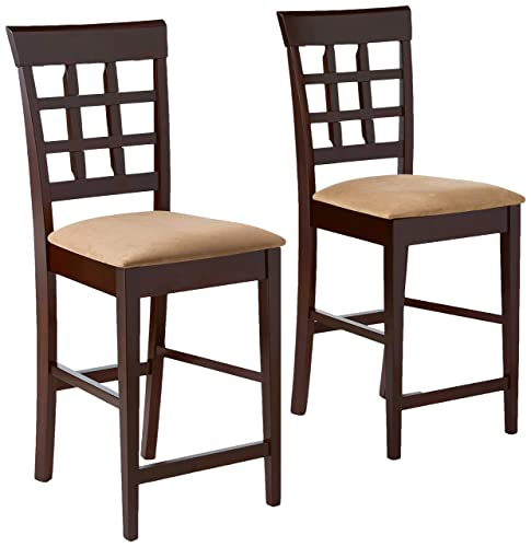 Gabriel 24 Wheat Back Bar Stools with Fabric Seat Cappuccino and Tan Set of 2