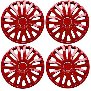 "Set de 4 tapacubos 14 ""rojo/Hub Caps para VW Polo Golf Fox"
