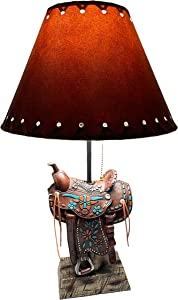 Urbalabs Western Brown Horse Saddle and Silver Star Cowboy Rustic Home Decor Table Lamp Farmhouse Nightstands Living Room End Tables Lamps for Bedrooms Office (Brown Teal Saddle Lamp Only)