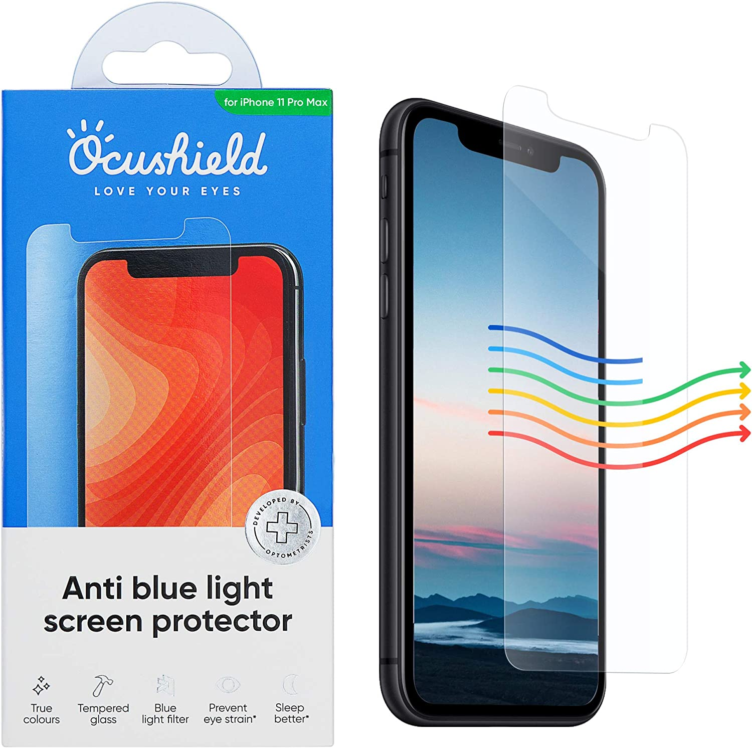 Ocushield Anti Blue Light, Tempered Glass Screen Protector for iPhone 11 Pro Max/XS Max - Protect Your Eyes & Improve Sleep