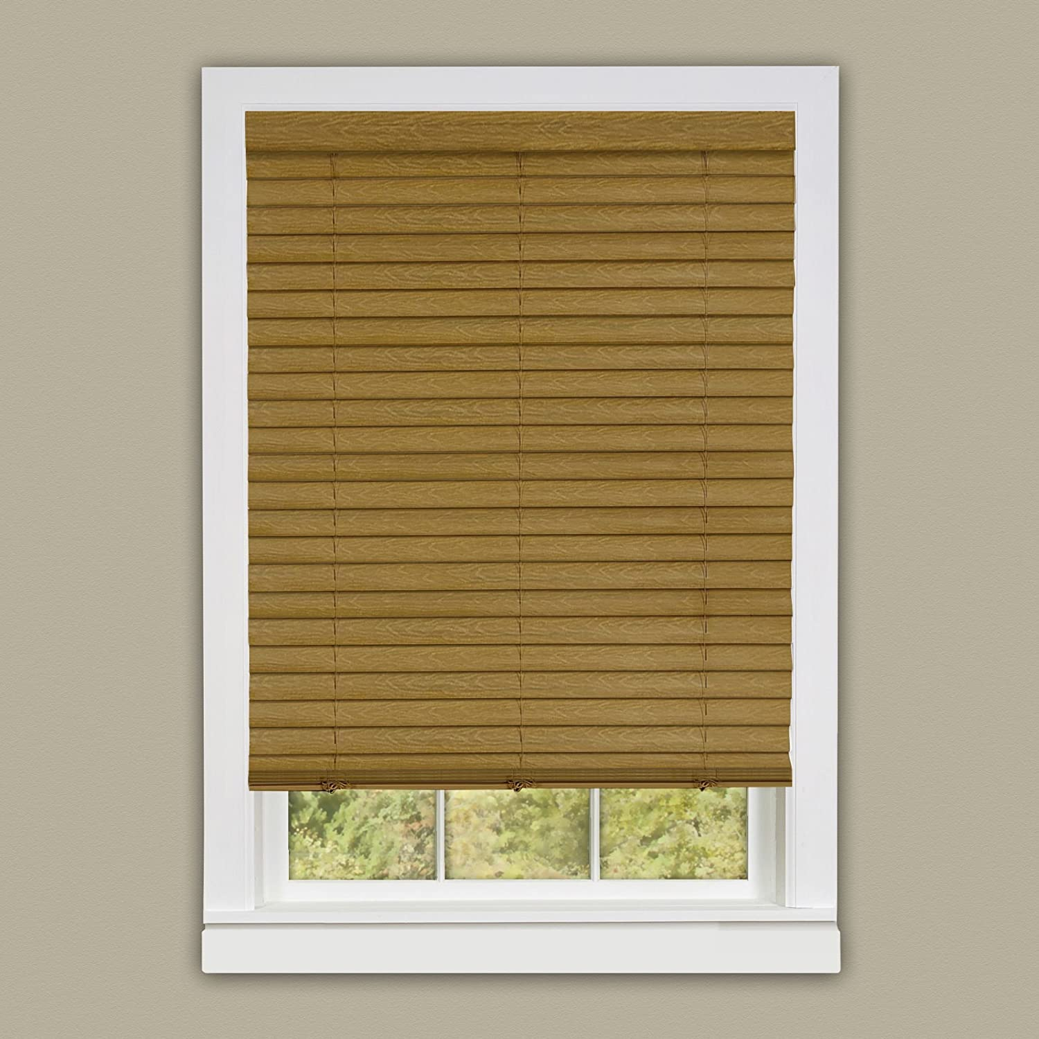 """Achim Home Furnishings, Woodtone, 23"""" x 64"""" Luna 2 Vinyl Slat Venetian Cordless Blind with Valance, 23 by 64-Inch,LUCO23WD04"""