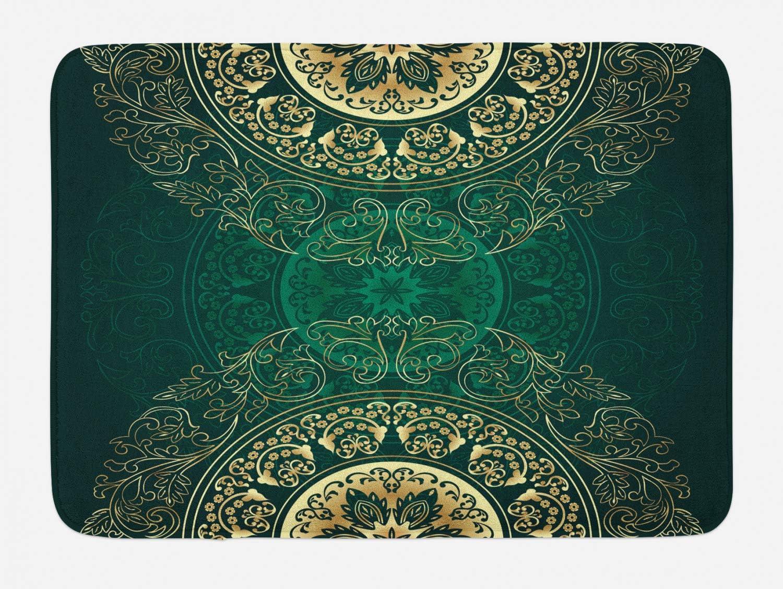 "Lunarable Hunter Green Bath Mat, Retro Oriental Mandala Style Floral Circle Antique Swirls Pattern, Plush Bathroom Decor Mat with Non Slip Backing, 29.5"" X 17.5"", Green Yellow"